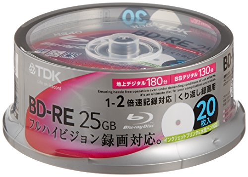 tdk-blu-ray-bd-re-rewritable-25gb-2x-speed-20-pack-spindle-printable-japan-import
