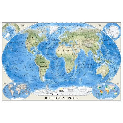 The Physical World Wall Map Material: Laminated the physical world wall map material laminated