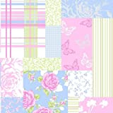 Sky Blue / Pink – M0720 – Pollyanna – Patchwork Rose Shabby Chic – Coloroll Wallpaper Reviews