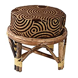 A&E Kutch Sparkling Cane cusioned stool chair with cushion, Brown