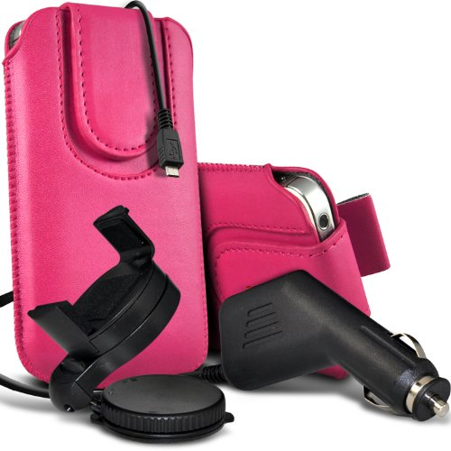 =>  Motorola Moto G Premium Protective PU Leather Magnetic Button Pull Tab Cord Slip In Pouch Pocket Skin Cover Quick With 12v Micro USB in Car Charger & 360 Rotating Windscreen Car Holder Cradle Hot Pink by Spyrox
