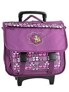 Cartable à roulettes scolaire fille - 41cm - Idéal pour l'école primaire - avec 1 poche avant zippée, 2 grands compartiments et bretelles rembourrées