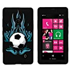 MINITURTLE, Dual Layer Tough Skin Dynamic Hybrid Hard Phone Case Cover, Clear Screen Protector Film, and Stylus Pen for Windows Smart Phone 8 Nokia Lumia 521 /T Mobile /MetroPCS (Fiery Soccer Ball)