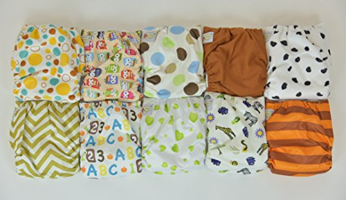 10 Pack Pocket Cloth Diapers with 20 Inserts (2 Inserts Per Diaper)-unisex 1
