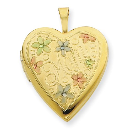1/20 Gold Filled 20mm Enameled Flowers Mom Heart Locket