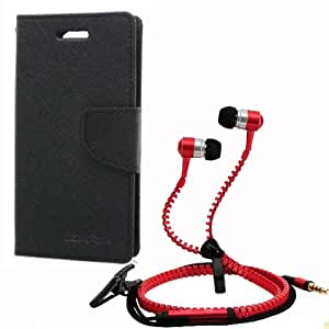 Aart Fancy Wallet Dairy Jeans Flip Case Cover for Micromax-Q372 (Black) + Zipper Earphones/Hands free With Mic *Stylish Design* for all Mobiles- computers & laptops By Aart Store.
