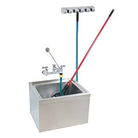"Stainless Steel Mop Sink Kit 6"" Depth ,16"" x 20"" x 6"",drain, hose, faucet, tool holder, Restaurant, Commercial"