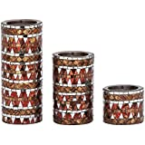 Enticing Set Of Three Metal Mosaic Candle Holders