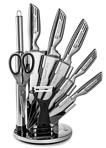 Imperial Collection Stainless Steel Kitchen Knife 9 Piece Set, and Acrylic Stand, Silver Signature
