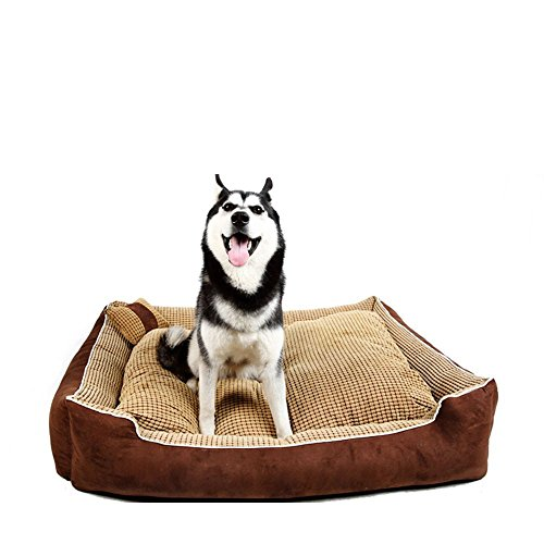 HappierGo-Waterproof-Dog-bed-With-Corn-Pillow-Ultra-soft-Durable-Washrable-with-Removable-CoverLarge