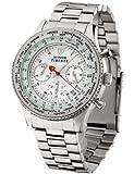 DeTomaso SM1624C-WH - Reloj de caballero de cuarzo, correa de acero inoxidable color plata