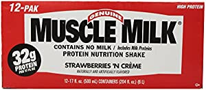 CytoSport Muscle Milk Ready-to-Drink Shake, Strawberries and Creme, 17 Ounce, Pack of 12