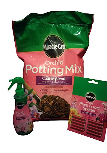 Orchid Potting Mix, 8-Quarts Orchid Plant Food Mist, & Orchid Plant Food Spikes 10-Pack - Bundle (Cattleya Orchid Mix compare prices)