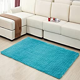 Hughapy Home Decorator Modern Shag Area Rugs Super Soft Solid Living Room Carpet Bedroom Rug and Carpets,80 120cm(Blue)
