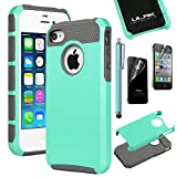 iPhone 4S Case, iPhone 4 Case, ULAK Fashion Armor Case for iPhone 4S and iPhone 4 Cover with Screen Protector and Stylus (Light Blue/Gray)