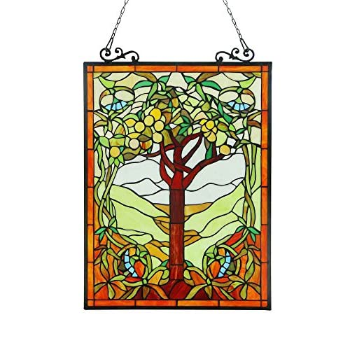OLEA Fruits of life Tiffany-style Glass Window Panel 18x25