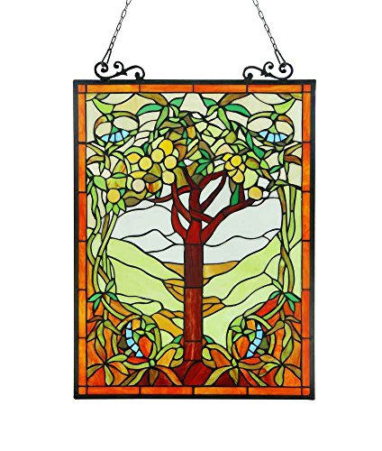OLEA Fruits of life Tiffany-style Glass Window Panel 18x25 0