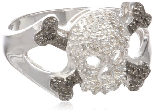 Sterling Silver Diamond Skull Ring (0.11 cttw, I-J Color, I2-I3 Clarity), Size 8