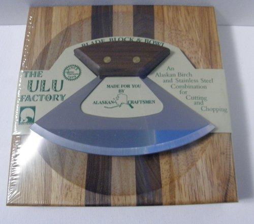 "7.25"" Block W/ Deep Dish Chopping Bowl And Umialik Ulu Knife With Walnut Handle"