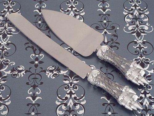 Wedding Favors Platinum Castle Collection Cake And Knife Set