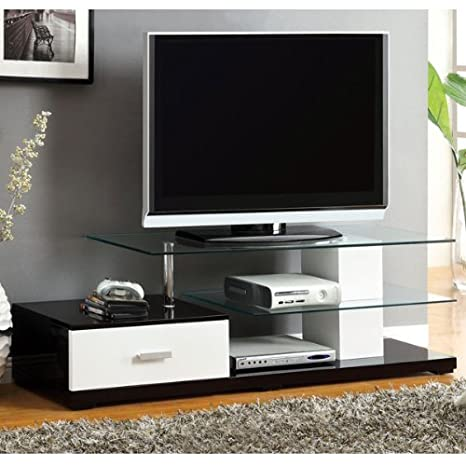 Agrini Black and White Finish Contemporary Style TV Stand