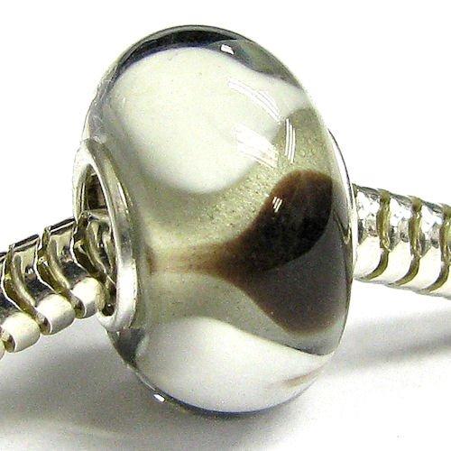 Sterling Silver Glass Brown & White Lampwork Glass Bead Charm For European Charm Bracelets 12.5Mm