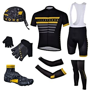 2013 Black Livestrong Mens Short Sleeve Cycling Jersey Set  Cycling Jerseys Suits hats gloves over Sleeves leg Sleeves... by Hanson