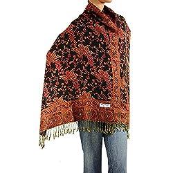Falari Womens Woven Pashmina Shawl Wrap Scarf 80 X 27 Black Rust
