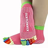 Lexitek 3 Pairs Winter womens Anti-Slip Grip Workout Yoga Socks Toe Socks mix color socks Cotton socks