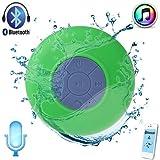 Waterproof Bluetooth Shower Speaker Hands Free Speakerphone Mini Speakers for iPhoneiPad Cell PhoneLaptopXboxComputer(Green)