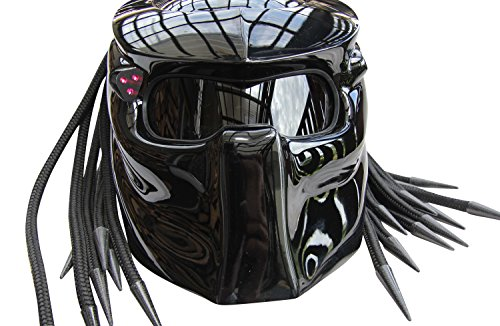 Predator Motorcycle Helmet X1 Black Base with Led Lamp made by XFF Fiber Factory (L)