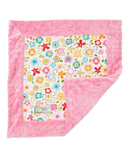Baby Girl LUXE Lovey/Security Blanket - Sweet Flower on Pink Minky
