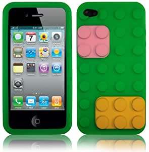 Block Retro Silicone Back Case For Iphone 4G / 4S With 2 Screen Protectors / Green