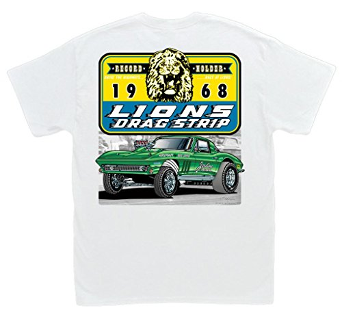 Lions Drag Strip 1966 Corvette Gasser White T-Shirt: 3XL - Chevrolet Vintage 427 Vette Chevy