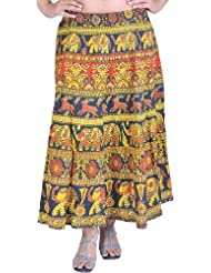 Exotic India Spectra-Yellow Sanganeri Midi Skirt With Printed E - Spectra Yellow