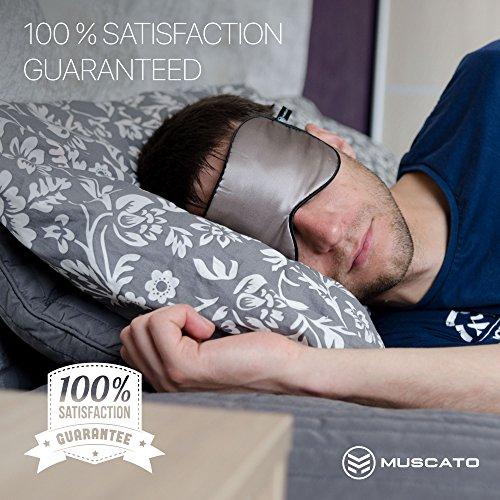 Premium Muscato Unisex Sleep Mask - Luxury Grey Silk Blindfold -Adjustable Double Head Straps (Ear Plugs Narrow compare prices)