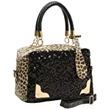 HESPER Black Sequins Leopard Print Pattern Top Double Handle Evening Tote Satchel Handbag Purse Shoulder Bag