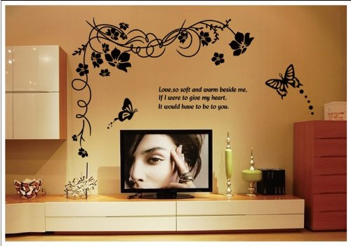 Kappier® Gorgeous Black Flowering Vine Removable Wall Decals - 1