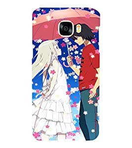 Printvisa Animated Rmantic Couple In A Flower Shower Back Case Cover for Samsung Galaxy C5