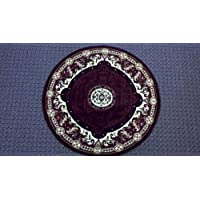 Traditional Round Area Rug 5 Ft 2 in X 5 Ft 2 in Burgundy Design #101
