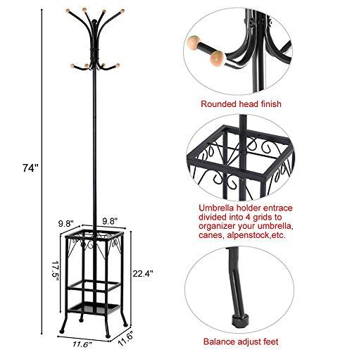 Yaheetech Retro-Style Metal Multi-purpose Coat Stand With Umbrella Storage Area, Black