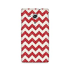 Ebby Red Glitter Chevron Premium Printed Case For Sony Xperia SP M35H