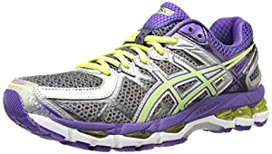 ASICS Women's Gel-Kayano 21 Running Shoe,Charcoal/Sharp Green/Purple,7.5 M US