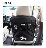 DoubleVillages Organizadore para coche Coche Asiento trasero Organizador Oraganizador de Coche Funda para asiento de coche Coche Asiento trasero Organizador Protector de asiento de coche / Protector de respaldo para coche con bolsa / Kick Mats -Zebra