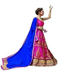 DesiButik's Wedding Wear Magnificent Pink Net Lehenga