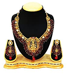 SatyamJewelleryNx Traditional Temple Laxmi Necklace Set For Women Fashion Jewellery (Wedding Season)