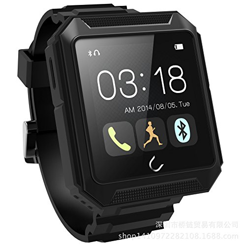 Lincass Uterra Waterproof Dustproof Shockproof Bluetooth 4.0 Hd Touch Smart Watch Smartwatch for Ios&android Phones (Black)