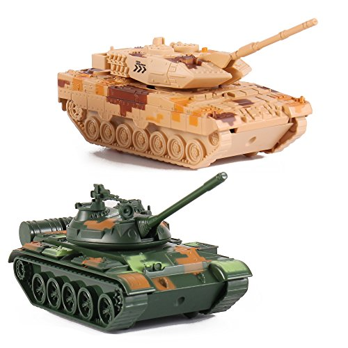 T-55 Diecast Metal Military Pullback Model Battle Tanks with Lights and Sound (2-Pack) (Diecast Military Tanks compare prices)