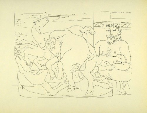 1956 Print Pablo Picasso Nude Reclining Model Sculptor Sculpture Bull Two Horses - Orig. Photolithograph