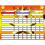 SALE!! Magnetic Reward Chart / Star Chart for motivating children. Rigid board 32 x 42 cms with hanging loop and magnetic back to hang on a fridge if required. Caters for up to 3 children. Also includes magnetic pen with built in dry wipe eraser, magnetic stars and activities magnets.